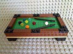 DaddiLifeForce – The Power of Lego Lego pool table. Lego Duplo, Lego Friends, Billard Bar, Legos, Chat Origami, Casa Lego, Lego Furniture, Lego Boards, Lego Craft