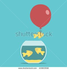 Gold fish and red balloon flying away from fishbowl on turquoise blue background. Courage, creativity, success and risk concept. EPS 8 vector illustration, no transparency Red Balloon, Balloons, Goldfish Bowl, Fishbowl, Blue Backgrounds, Aquarium, Creativity, Royalty Free Stock Photos, Success