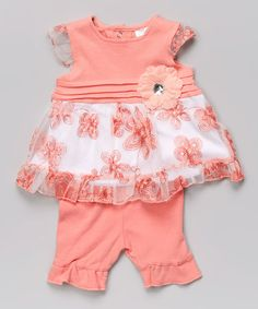 Loving this Peach Floral Tunic & Capri Leggings on #zulily! #zulilyfinds