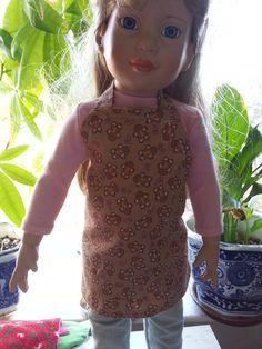 18 inch American Girl Gingerman Doll Reversible Apron Handmade Original Design Arvilla Ruby
