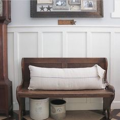 I have a similar bench (an old church pew)... I like the single, full length pillow
