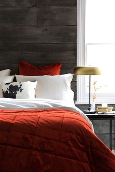A simple bedspread does wonders for finishing a room and is fabulous for adding a splash of colour too. This burnt sienna diamond bedspread from A by Amara is just the ticket. Burnt Orange Comforter, Velvet Bedspread, Bedspreads Comforters, Striped Table, Bedroom Red, Stylish Bedroom, Table Accessories, Bedroom Styles, Contemporary Interior