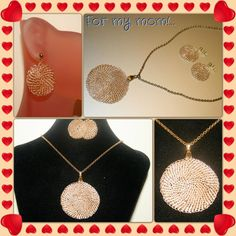 crocheted disc necklace and earrings  www.facebook.com/cabcrochet