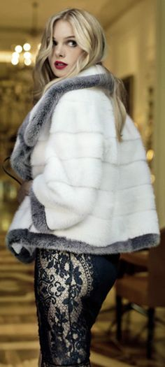 Women's fashion | White and grey fur coat with flattering lace dress