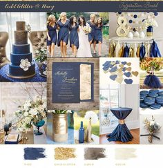 Navy Blue and Gold Wedding Inspiration, Navy and Gold Wedding Mood Board, Navy Gold Nautical Wedding Inspiration by DeeDeeBean Gold Beach Wedding, Navy Blue And Gold Wedding, Copper Wedding, Gold Wedding Theme, Wedding Mood Board, Wedding Themes, Dream Wedding, Wedding Decorations, Wedding Ideas
