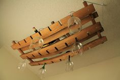 Hanging Wine Glass & Bottle Rack Made From Oak Barrel Stave Holds 18 Glasses And…