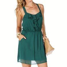 Jade Sleeveless V Neck Ruffle Dress