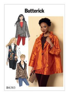 Butterick sewing pattern B6383: Misses' Collared Vest and Jackets with Asymmetrical Hem