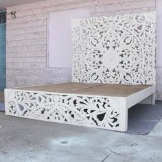 Boho Bed Frame, Bed Frame And Headboard, Headboards For Beds, Bohemian Headboard, White Wooden Bed, Wooden Bed Frames, White Wooden Headboard, Wood Carved Headboard, Wooden Slats