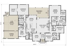 Floor Plan 4 Bedroom, 4 Bedroom House Plans, Dream House Plans, House Floor Plans, Home Design Decor, House Design, Walk In Bath, French Country House Plans, Barndominium