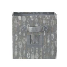 Home Decorators Collection 10.75 in. W x 11 in. H Amba Grey Fabric Storage Bin with Handle-9181100290 - The Home Depot