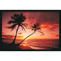 The warm tones of this stunning tropical sunset invite you to relax and enjoy the sea breeze and natural beauty of this exotic getaway. Framed and texture-glazed poster comes hand-finished with a non-