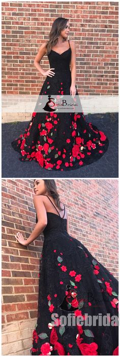 Black Lace Handmade Flowers Prom Dresses, A-line Prom Dresses, Lovely Prom Dresses, PD0464 #promdresses