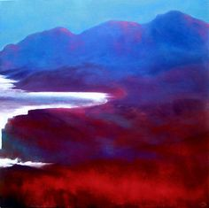 In Between, John 'OGrady - www.johnogradypaintings.com - a view of the Irish coast at twilight just before nightfall when light catches the landscape here and there.