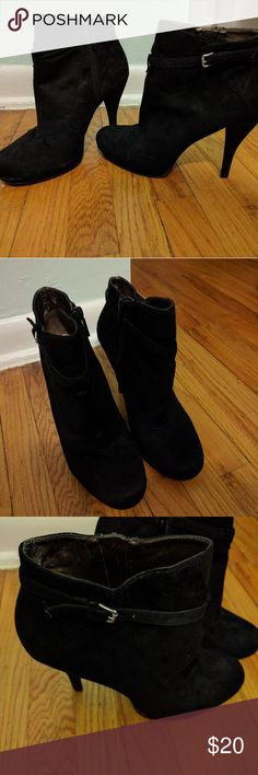 Nine West Black Suede Booties Heels Nine West black booties with heels. Size 9.5. Great condition. I am unable to tell if this is faux or real suede but looks and feels like real suede. Cute buckles for detail on the sides with a inside side zipper. Nine West Shoes Heeled Boots