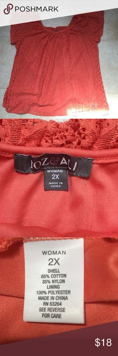 Roz & Ali for Dress Barn top This Roz & Ali top from Dress Barn is in excellent condition.  The lace top is lined with 100% polyester.  Sleeves are not lined.  The lace is super soft and lining shows through.  Size 2X and the color is between orange and coral in my opinion. Dress Barn Tops Tunics