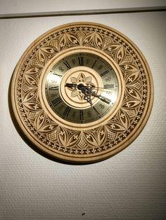 Chipcarved  Wall  clock. From karveskurd.com.