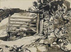 Bonhams : John Minton (British, The Gate x cm. x 14 in. Landscape Drawings, Landscape Art, Landscape Paintings, Art Drawings, Landscapes, Landscape Sketch, John Minton, Art Through The Ages, Artist Sketchbook