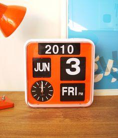 this dashing, vintage, orange flip calendar clock is up for grabs in deedee july giveaway. Flip Calendar, Ace Of Base, Vintage Calendar, Orange You Glad, Letterpress Printing, Flip Clock, Retro, Hand Lettering, Home Accessories
