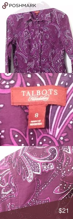 "Talbots Haberdashery magenta paisley dress shirt Talbots Haberdashery long sleeve magenta/pink/white paisley collared button down shirt. rounded hem.   Size 8 - 16"" pit to pit, 24"" length  See photos for details. Smoke free, pet friendly home.   Please message me with any questions. Ask if additional size detail is needed.   15% discount for 3+ item bundles. Check out my closet. Happy Poshing!  695/CL Talbots Tops Button Down Shirts"
