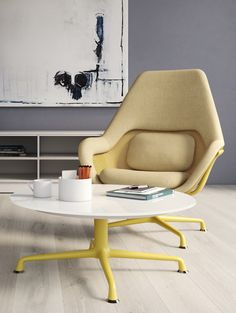 The lounge-inspired Collection of elegant designer furniture represents a new concept of workplace collaboration and office seating. Screws And Bolts, Occasional Tables, Office Seating, Corian, Wood Surface, Square Tables, Floor Chair, Furniture Design, Chairs