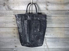 Vintage Quilted Patchwork Black Faux Leather Tote by AllQuirkedUp