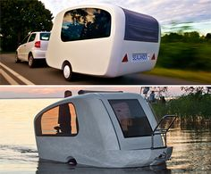 Camper Boat: The Sealander is an innovative camping trailer that also functions as a boat. Its wide and bowl-shaped for use on both land and water.