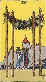 """Four of Wands is a card used in Latin suited playing cards which include tarot decks. It is part of what tarot card readers call the """"Minor Arcana"""". This card is generally considered positive. It is said to reflect harmony and positive feelings, hard work Tarot Cards Online, Rider Waite Tarot Cards, Tarot Waite, Tarot Significado, Tarot Gratis, Marriage Cards, Free Tarot, Daily Tarot, Tarot Card Meanings"""