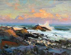 Robert Charles Gruppe, Bass Rocks, a contemporary impressionist painter, born in the son of the legendary Emile A. Gruppe, and the grandson of Charles Paul Gruppe. Winter Landscape, Landscape Art, Landscape Paintings, Landscapes, Seascape Paintings, Watercolor Paintings, Watercolor Ocean, South African Artists, Modern Impressionism