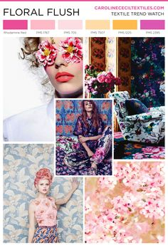 #carolinececiltextiles trend inspiration. Floral Fabric | Floral Print | Textiles | Fashion | Mood Board | Pattern | Textile Trend | Interior Design | Interiors | Interior Color Trends | SS16 | FW16 | SS17 | AW17 | FW17 | spring summer 2016 | autumn winter 2016 | textile design | color trend | megatrends |