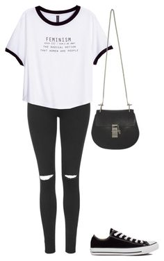 """""""Untitled #53"""" by amelia-cave ❤ liked on Polyvore featuring Topshop, H&M, Chloé and Converse"""