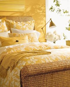 This cheery yellow bedroom makes you feel happy warm and airy. Perfect for your summer vacation home bedroom. Home Bedroom, Master Bedroom, Bedroom Decor, Summer Bedroom, Bedroom Ideas, Shabby Bedroom, Bedroom Storage, Home Interior, Interior Design