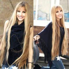 Ass long blond mane and bangs - YUMMY! Really Long Hair, Super Long Hair, Long Hair With Bangs, Short Hair Updo, Half Updo, Beautiful Long Hair, Gorgeous Hair, Beautiful Women, Underlights Hair