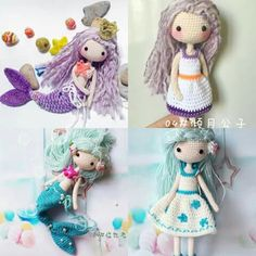 AVA🎣Weibo group crochet activity: Thanks for all the beautiful works submitted and now had been finished perfectly. Thank you for your participation. 💋 up:倾月公子 down:临也老师 Crochet Fairy, Crochet Mermaid, Crochet Girls, Mermaid Diy, Cute Crochet, Beautiful Crochet, Crochet Toys, Knit Crochet, Amigurumi Doll