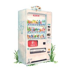 Tokyo Vending Machine - Illustration by Justine Wong of Patterns and Portraits Japan Illustration, Building Illustration, Watercolor Illustration, Watercolor Paintings, Japan Watercolor, Drawn Art, Food Drawing, Urban Sketching, Freelance Illustrator