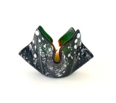 Fused Glass Votive Candle Holder Green and White by Nostalgianmore, $25.00