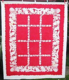 """VINTAGE ALL COTTON CLASSIC RED & WHITE TABLECLOTH 50"""" x 63"""" FRUITS & VEGETABLES"""
