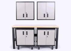5 Piece Set of Sandstone Metal Garage Cabinets