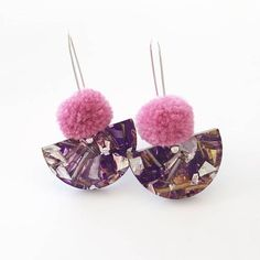 Fresh, fun and bright, these gorgeous little earrings are just the right amount of sparkle and pom!  Measuring 30mm across and 50mm long, they are great for day or night and give a pop to any outfit.  Designed, cut and hand assembled by me in my home studio, they are finished with a