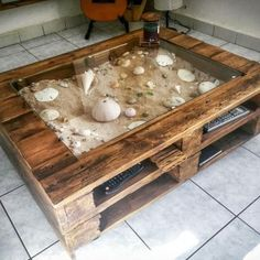 A DIY pallet wood glass display coffee table idea for the avid beachcomber! Leaves plenty of space to create a great beach scene with sand and shells. Featured on Completely Coastal. Pallet Furniture And Decor, Diy Pallet Furniture, Furniture Projects, Wooden Furniture, Furniture Design, Rooms Furniture, Crate Furniture, Furniture Websites, Furniture Movers