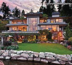 Luxury Home Magazine Seattle #Luxury #Homes #Waterfront #GlassWalls #Windows #Architecture