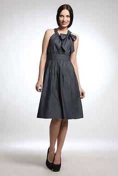 I <3 this Tie neck chambray dress from eShakti