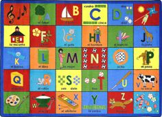"""The Bilingual Phonics Rug will encourage students to see language in a new way. This rug inspires students to use new words in their daily vocabulary and story writing. Classroom Carpets, Classroom Decor, Phonetic Sounds, Daily Vocabulary, Play Corner, Teaching Shapes, Teaching Ideas, Kids Area Rugs, Insects"