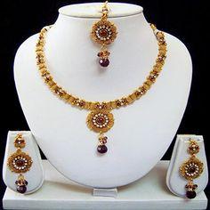 Purple and Wine Polki Studded Necklace Set