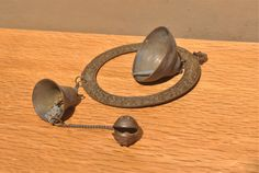 Vintage Nepal/ Tibet Bells. 3 Tier Hanging Metal Bells with Tiger Bell. Asian Home Decor. by GoldenGully on Etsy