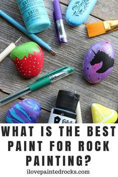 What kind of paint do you use to paint rocks? The ultimate guide to the best rock painting paint supplies. Perfect for beginners! Rock Painting Supplies, Rock Painting Ideas Easy, Paint Supplies, Rock Painting Designs, Rock Painting For Kids, Diy Supplies, Pebble Painting, Pebble Art, Stone Painting