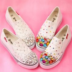 Womens Flat Heels Canvas Rhinestone Sport Shoes Lace Up Sneakers Casual Trainers