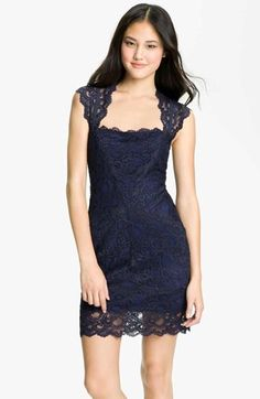 Nicole Miller Lace Fitted Cap Sleeve Lace Sheath Dress available at #Nordstrom