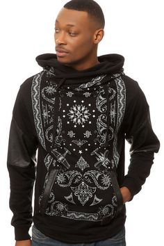 Allston Outfitter The Paisley Terry Hoodie in Black