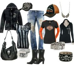 A fashion look from February 2014 featuring BKE tops, Harley-Davidson boots and Harley-Davidson hats. Biker Chick Outfit, Biker Chick Style, Lady Biker, Biker Girl, Harley Davidson Kleidung, Harley Gear, Biker Wear, Harley Davison, Motorcycle Style